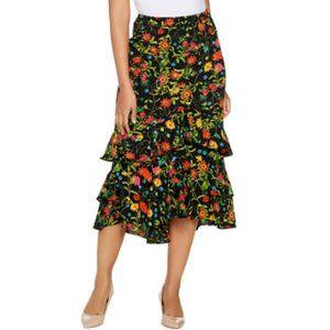 2X Linea Louis Dell'Olio Wild Flower Ruffle Skirt
